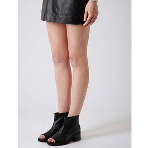 TOPSHOP Black Leather Open Toe Booties